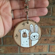 Personalized couples key chain polar bear and bunny key