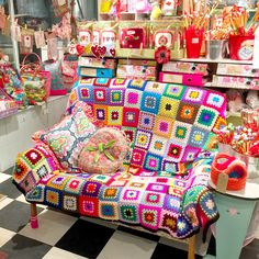 The Gilliangladrag Fluff-a-torium sofa of fluffy dreams... come and sit here to choose your new knitting or crochet project. #knitting #crochet #grannysquares #knittingshop #dorking #gilliangladrag #crochetblanket #crochetaddict #yarn #colour