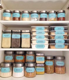 """Retro Blue """"Bins and Containers"""" Pantry Labels Collection – Printable PDF – Kitchen Organization Retro Blue Bins and Containers Pantry Labels by thepapersociety - Own Kitchen Pantry Kitchen Organization Pantry, Organization Hacks, Organized Pantry, Kitchen Storage Jars, Organization Ideas For The Home, Storage Ideas, Baking Organization, Small Kitchen Pantry, Small Cupboard"""