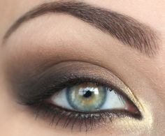 """Love this look for evening. The shimmer on the inner eye corner and a lighter shade under the brow keeps the eye from looking """"heavy.""""   Black liner along lash line, copper on lid, chocolate brown in crease and swept above/out, black on outer edge, vanilla under brow, champange inner corner, two layers mascara. Pair with a soft pink gloss to balance the face."""