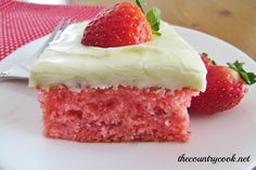 """The Country Cook: Fresh Strawberry Cake~~  This is """"very"""" close to the recipe I have used for 25 years.  If you make as a layered cake (I make 3 layers) you will need to at least double the frosting.  I also add some mashed berries to the icing.  My granddaughter's """"pink"""" birthday cake for 14 years!! :D"""