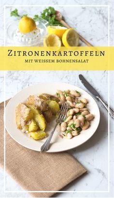 Zitronenkartoffeln mit weißem Bohnensalat