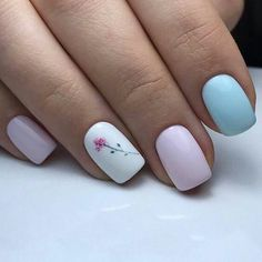 Pink, Blue, & White Floral - Manicure