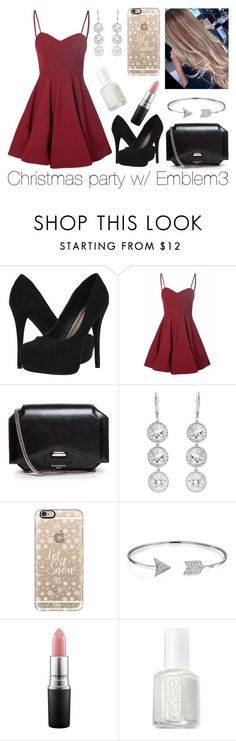 """Christmas party with Emblem3"" by fivesaucecalxm ❤ liked on Polyvore featuring Michael Antonio, Glamorous, Givenchy, Andrea Fohrman, Casetify, Bling Jewelry, MAC Cosmetics and Essie"