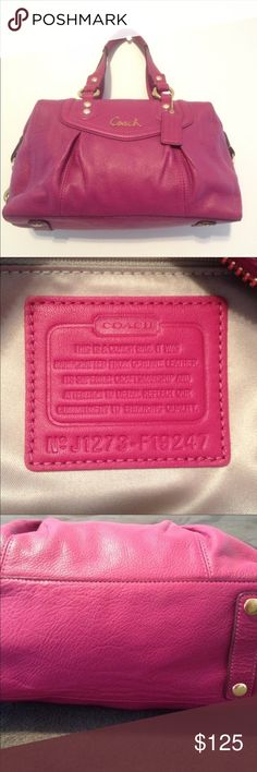 """COACH Purse. Beautiful """"pretty in pink"""" Coach leather satchel with handles and an attachable shoulder strap that can be stored under the bag!!! Coach Bags Satchels"""
