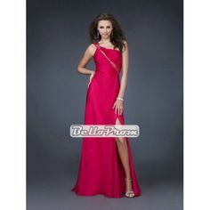 A-line One Shoulder With Beadings Chiffon Long Prom Dress PD33871 at belloprom.com