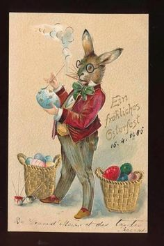 Rare DRESSED RABBIT Paints EGGS Antique 1905 Easter Postcard-mmm204