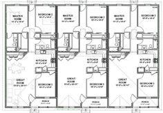 Triplex House Plans-- 1,387 s/f ea unit---3 beds + 2 ba - Google Search