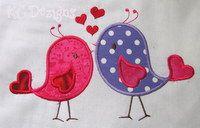 Applique Love Birds With Hearts