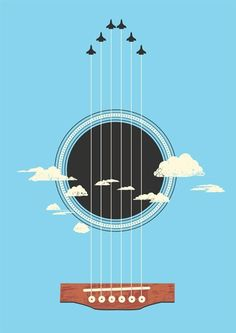 Sky Guitar by tangyauhoong #Illustration #Negative_Space #tangyauhoong by Katherine Gray