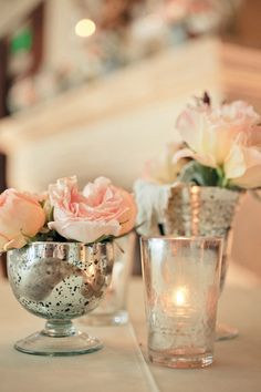 My favorite wedding colors: blush, ivory, seafoam & (gold or silver)