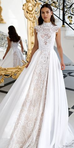 nurit hen 2016 cap sleeves high neck aline lace wedding dress(pw1) mv romantic princess