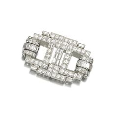 DIAMOND DOUBLE CLIP BROOCH, 1930S