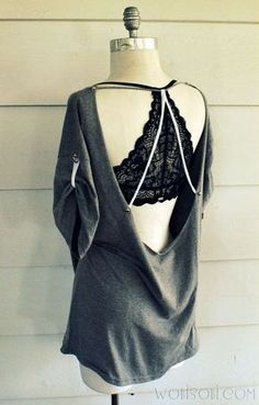 trendy sewing clothes for teens t shirts tank tops - DIY Clothes Ideen Diy Shirts No Sew, T Shirt Diy, Tee Shirt, T-shirt Refashion, Diy Clothes Refashion, Look Fashion, Diy Fashion, Backless Shirt, Diy Kleidung