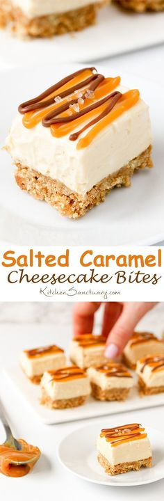 No-bake Salted Caramel Cheesecake bites - great for parties! #caramel_cheesecake_recipes