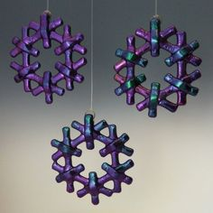 CRYSTAL Cool Tones Black Iridized Fused Glass Snowflake Ornament Suncatcher