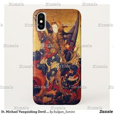 St. Michael Vanquishing Devil as Medieval Knight iPhone X Case #saintmichael #angels #archangel #religion #fineart #religious #christian #knight #medieval #devil