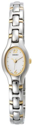 Seiko Women's SXGJ71 Dress Two-Tone Watch Seiko. $150.00. Strong Hardlex crystal protects dial from scratches. Stainless-steel case; white dial. Reliable Japanese-quartz movement. Water resistant up to 99 feet (30 M). Save 19%!