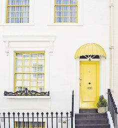 Quaint architecture in Notting Hill, London. Notting Hill London, Yellow Doors, Up House, Happy House, Mellow Yellow, Bright Yellow, Yellow Accents, Interior Exterior, Humble Abode