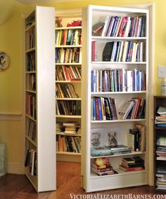 Turn a closet into a bookcase and then make the door MORE bookcases?  SOLD. Pretty sure my husband would love this!