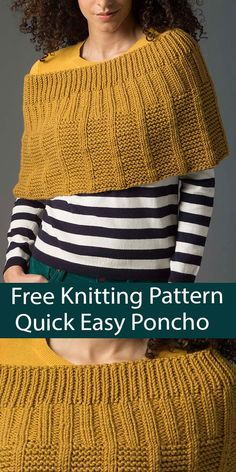 Free Poncho Knitting Pattern Easy Quick Level 2 Poncho - Quick poncho capelet knit in the round with easy textures. Rated easy by Ravelrers. 2 Sizes. Quick knit in Bulky weight yarn. Designed by Lion Brand Yarn. Poncho Knitting Patterns, Knitted Poncho, Free Knitting, Quick Knits, Knit In The Round, Lion Brand Yarn, Capelet, Knit Crochet, Men Sweater