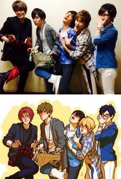 Free! Seiyuus vs Fan art! Miyano, Tatsuhisa, Nobunaga, Yonaga, and Hirakawa XD