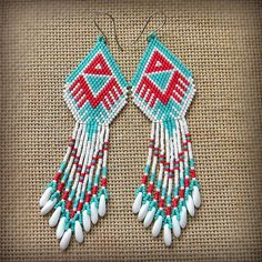 White turquoise and red seed bead earrings   by Anabel27shop, $38.00
