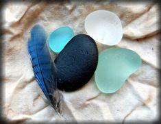 seaglass...turq, aqua, teal, midnight, white.