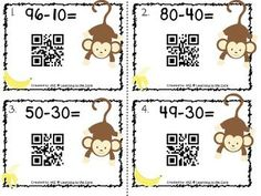 {Free} QR Codes Subtraction Center by Amanda Zanchelli Subtraction Activities, Math Activities, Multiplication Strategies, Math Games, Math Stations, Math Centers, Teaching Math, Math Math, Teaching Ideas