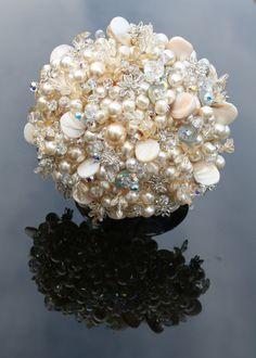 Swarovski crystal and pearl wedding bouquet Pearl Bouquet, Broach Bouquet, Crystal Bouquet, Button Bouquet, Wedding Crafts, Wedding Ideas, Wedding Stuff, Christmas Wedding Flowers, Celebration Love