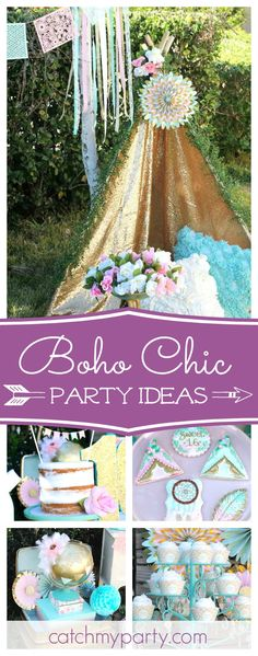 Take a look at this whimsical Sweet 16 boho chic birthday party. The cookies are fantastic!! See more party ideas and share yours at CatchMyParty.com