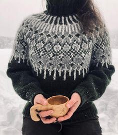 I'm very excited about my new design! I am very happy that I started over. I made a few changes in the pattern and unraveled… Knitting Terms, Fair Isle Knitting Patterns, Loom Knitting, Knitting Designs, Knit Patterns, Hand Knitting, Handgestrickte Pullover, Icelandic Sweaters, Nordic Sweater
