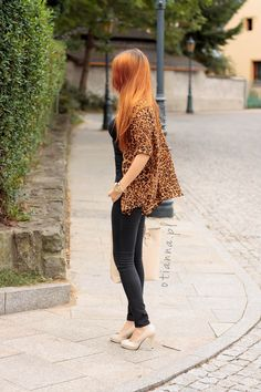 jacket, beige bag, panther, leopard shirt, beige heels - OTIANNA redhead girl, ginger hair, baby blue dress