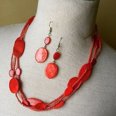 Necklace and Earring set {Red.Silver}