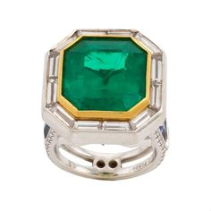 Emerald Dreams Ring | From a unique collection of vintage cocktail rings at https://www.1stdibs.com/jewelry/rings/cocktail-rings/