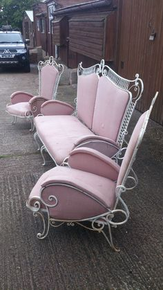 Wrought Iron Patio Garden Conservatory Furniture Suite 60s Retro Vintage Italian