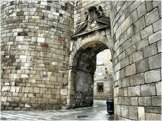 """museum-of-artifacts: """" Perfectly preserved ancient roman gate in Lugo, Spain. Lugo is the only city in the world to be surrounded by completely intact Roman walls from century AD """" Ancient Roman Coins, Ancient Rome, Ecce Romani, Roman Architecture, Ancient Artifacts, Ancient Civilizations, Roman Empire, Preserves, Archaeology"""