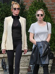 Melanie Griffith and her mini-me Stella flaunted beyond trendy shades in NYC – cat-eyes for mom and round sunnies for daughter!