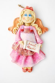 Anioł z masy solnej, aniołek dla dziewczynki, anioł z dedykacją, aniołek z masy solnej,salt dough angel,salt dough ornaments,gohart