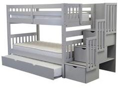 Bunk Beds Twin over Twin Stairway Gray + Trundle