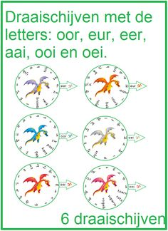 Draischijven met de letters: oor, eer, eur, ooi, aai en oei. Co Teaching, Creative Teaching, Speech Language Therapy, Speech And Language, Dutch Language, Job Info, Play To Learn, School Projects, Fun Learning