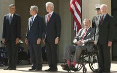 U.S. President Barack Obama, former President George W. Bush, former President Bill Clinton, former President George H.W. Bush, and former President Jimmy Carter attend the opening ceremony of the George W. Bush Presidential Center on April 25, 2013 in Dallas, Texas.(Getty) Source: http://parade.condenast.com/9284/markupdegrove/inside-the-presidential-reunion-at-the-bush-library-dedication/