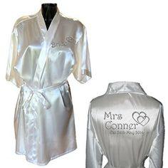 Personalised Satin Kimono /Robe Hearts Design 1. Bride, Bridesmaid, Maid of Honour, Mother of the Bride / Groom (Silver Effect)