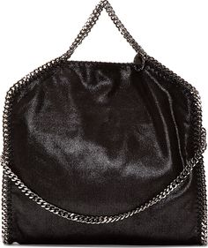 Stella McCartney - Black Shaggy Deer Chain-Trimmed Foldover Falabella Bag