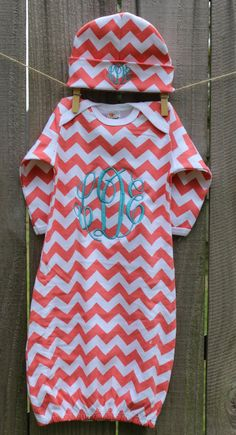 Oh just stop it! so cute! Chevron Personalized Infant / Baby Gown Layette w Hat / Beanie Monogrammed and Appliqued Baby Boy/Girl Coming Home Outfit on Etsy, $28.00