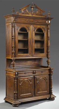 French Henri II Style Carved Walnut Buffet a Deux