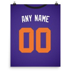 Phoenix Suns Jersey Poster - Print Personalized Select ANY Name & ANY Number