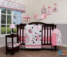 Baby New Pink Butterfly 13 Piece Nursery CRIB BEDDING SET