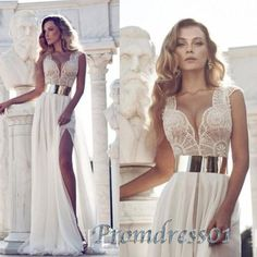 2015 sexy white lace chiffon long side slit prom dress for teens, ball gown, wedding dress, prom gown #promdress