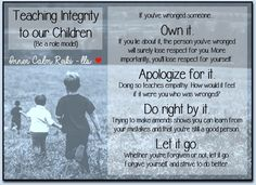 A person of integrity is one who is honest and has strong moral principles. It's something we teach our children at a young age and by being a good example. This poster contains words my own children have heard me say a thousand times growing up. Although we may have had moments we're less than proud of (as most families often do), I have always been extremely proud of how they handled themselves in these situations. And I'm proud of the young adults they have become. Blessings - Leslie ❤️